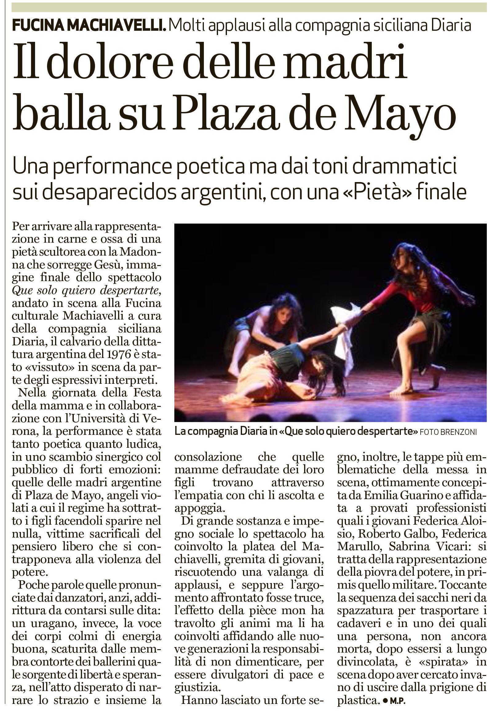 Recensione di Que Solo Quiero Despertarte, L'Arena 10 maggio 2016