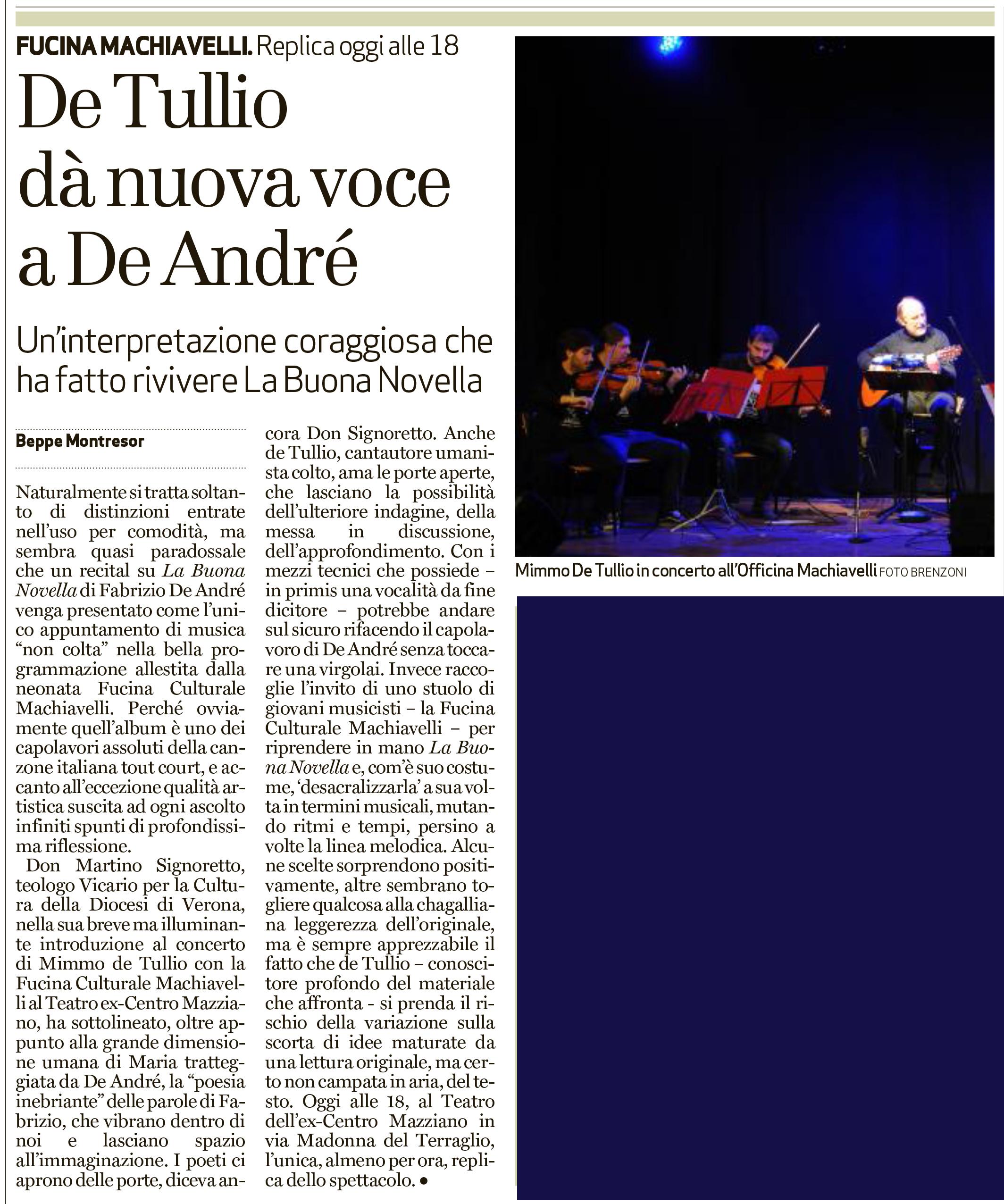 Recensione di La Buona Novella, L'Arena, 20 dicembre 2015