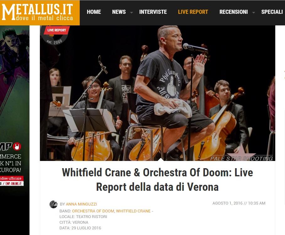 Recensione a Orchestra of Doom, Metallus, agosto 2016 - testata